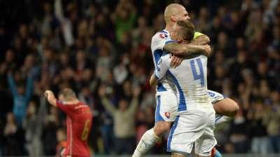 Jan Durica Martin Skrtel Slovakia Spain Euro 2016 Qualifier