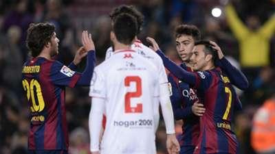 16/12/2014   Barcelona 8-1 Huesca (Pedro x3, Sergi Roberto, Iniesta, Adriano, Adama Traoré, Sandro, Carlos Moreno)   Copa del Rey