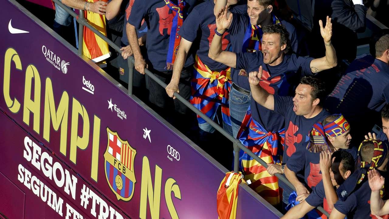 Luis Enrique Xavi Hernandez Barcelona UEFA Champions League celebration 06072015