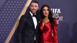 Sergio Ramos and his wife, Pilar Rubio, during the Ballon d'Or 2015 gala