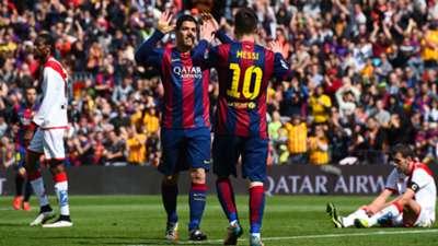 Luis Suarez Lionel Messi Barcelona Rayo Vallecano La Liga 08032015