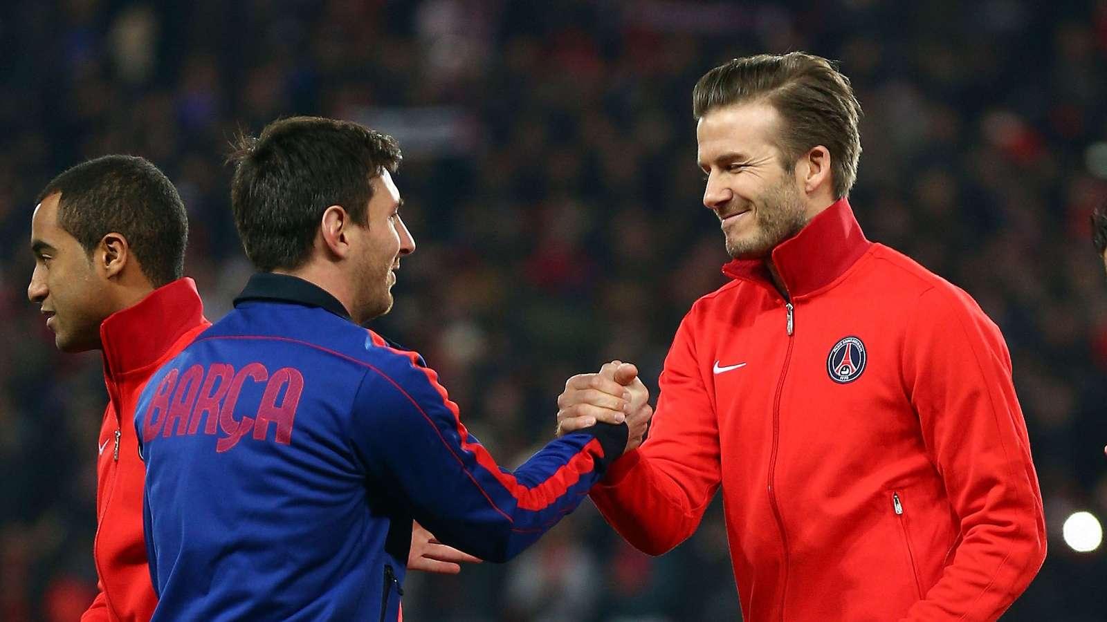 Messi s Davidem Beckhamem