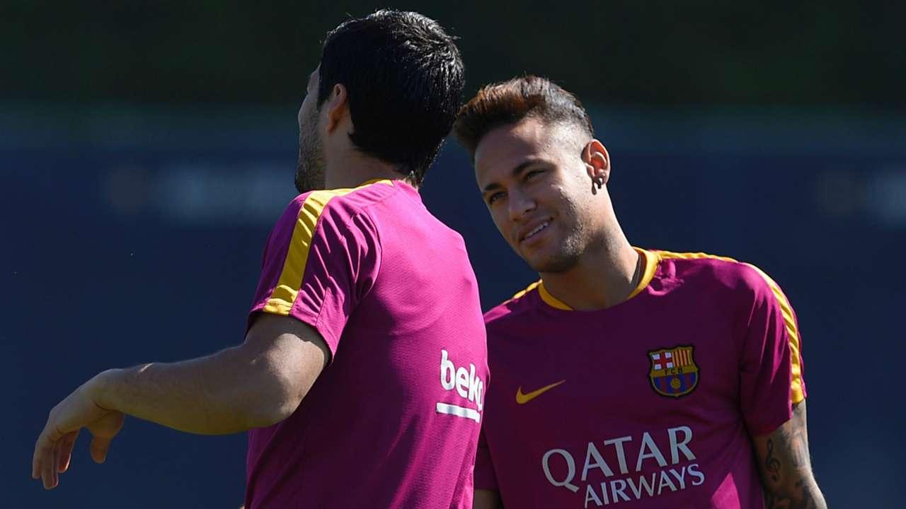 Luis Suarez Neymar Barcelona training