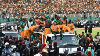 Ivory Coast's player parade in Abidjan