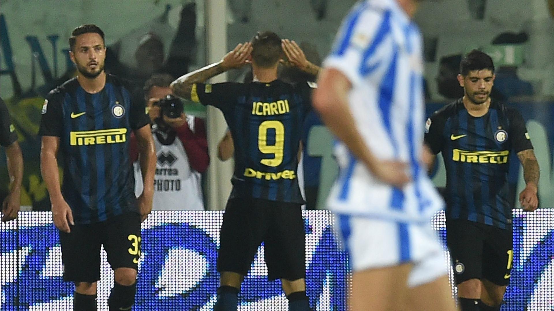 Mauro Icardi celebrating Pescara Inter Serie A 11092016