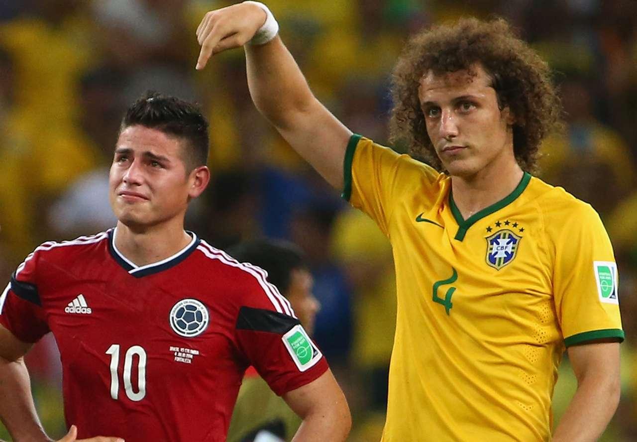 David Luiz James Rodriguez Brazil Colombia