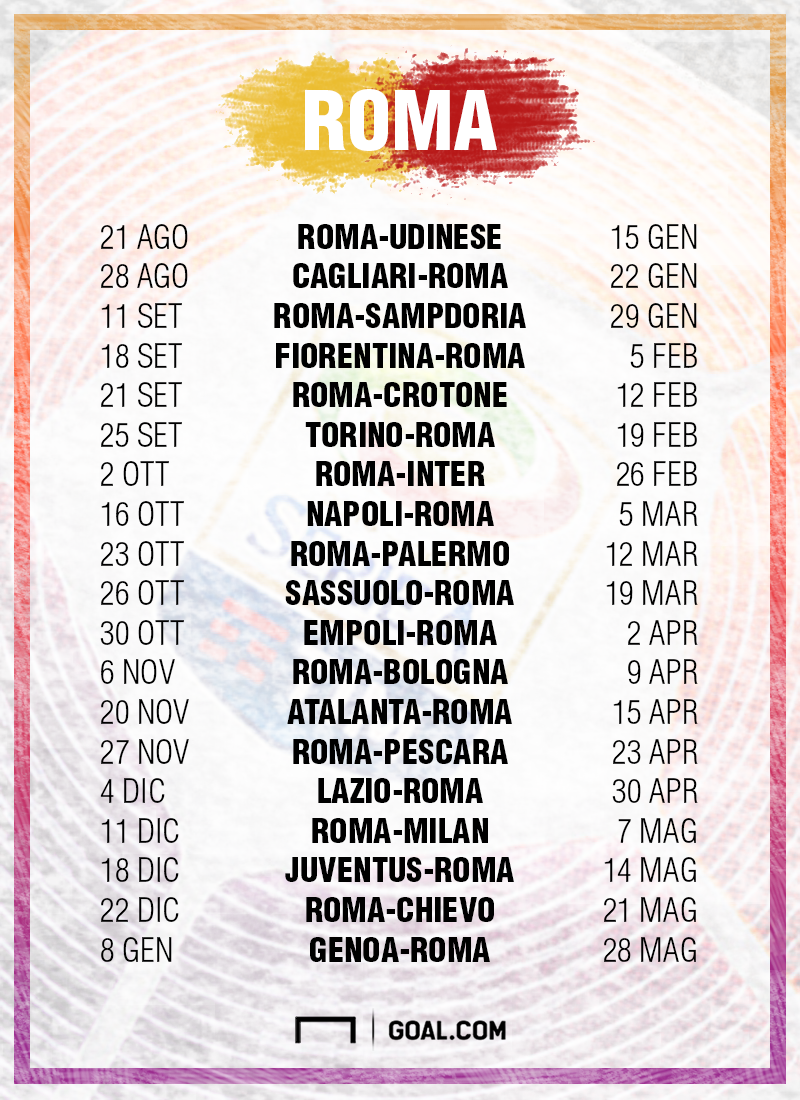 Roma Calendario Serie A.Serie A 2016 2017 Il Calendario Della Roma Goal Com