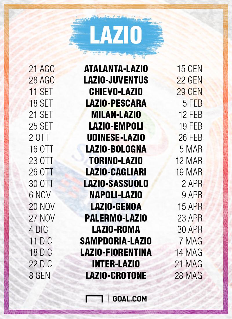 Calendario Lazio.Serie A 2016 2017 Il Calendario Della Lazio Goal Com