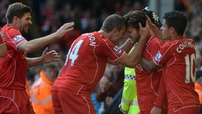 Jordan Henderson Adam Lallana Liverpool English Premier League 05102014