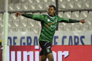 Michael Uchebo of Cercle Brugge celebrates during the Jupiler League match between K.V. Kortrijk and Cercle Brugge on November 9, 2013