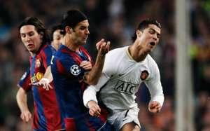 Lionel Messi, Rafael Marquez, Cristiano Ronaldo, Barcelona vs. Manchester United