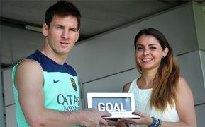 Lionel Messi receives Goal 50 trophy