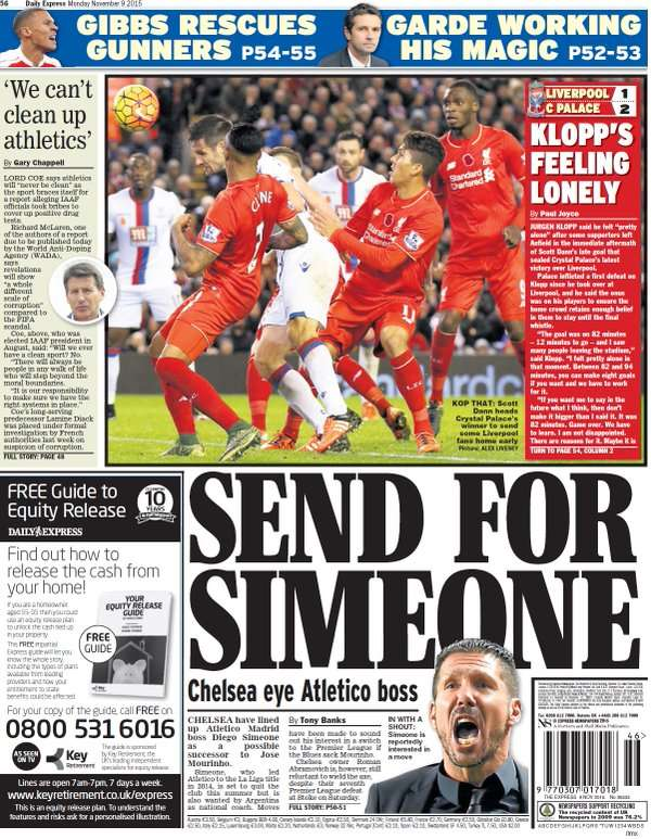 Daily Express back page 09112015