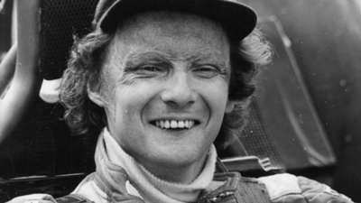Niki Lauda winning the F1 championship in 1977