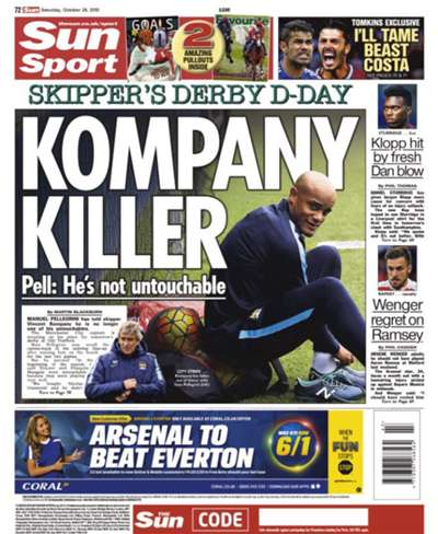 The Sun back page 25 October