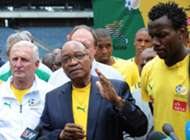 South Africa's President Jacob Zuma visits the South Africa national football team
