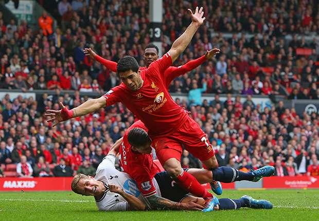 Luis Suarez Liverpool Tottenham Hotspur Premier League 03302014