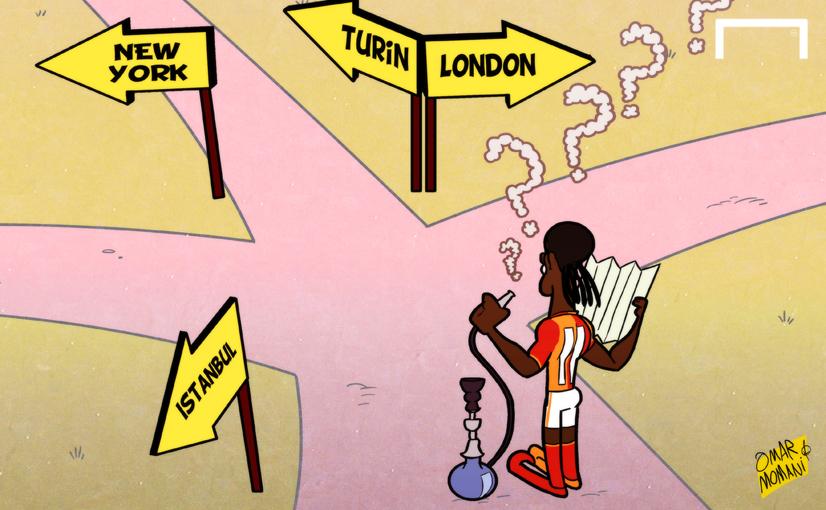 Cartoon Drogba in the cross roads