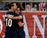 Paris Saint-Germain strikers Zlatan Ibrahimovic and Edinson Cavani