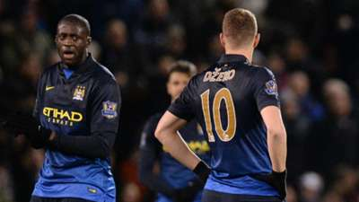 Edin Dzeko Sergio Aguero Yaya Toure Burnley Manchester City Premier League 15032015