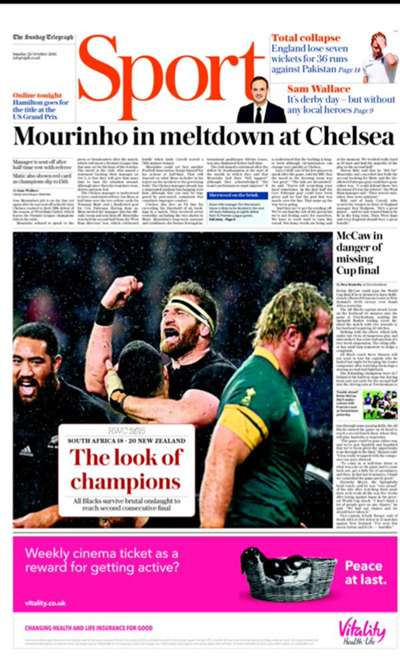 The Daily Telegraph back page October 25