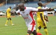 Ulinzi striker Kevin Amwayi celebrating his goal against Uganda.