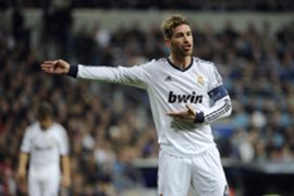 Sergio Ramos durante el Real Madrid - Manchester United