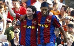 Lionel Messi and Ronaldinho