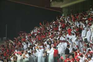 Al Ahli Fans celebrate the coronation of champions of the Arabian Gulf 2013 2014