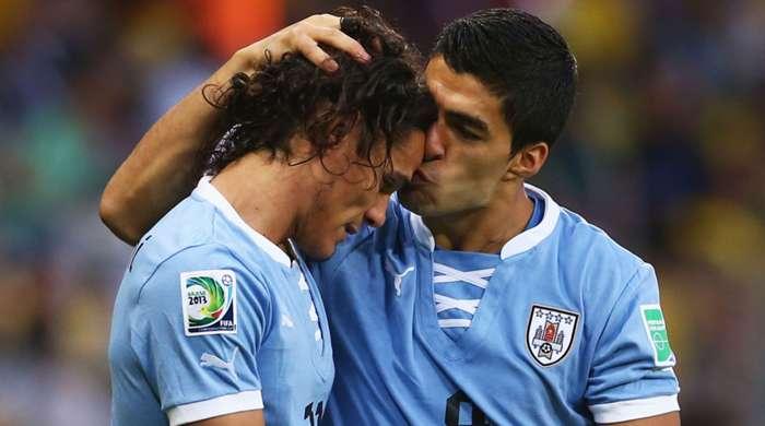 Uruguay's Edinson Cavani and Luis Suarez