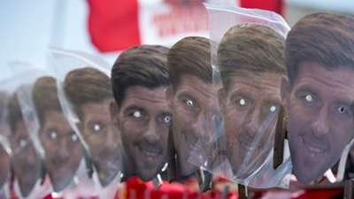 PRE-MATCH   Steven Gerrard masks