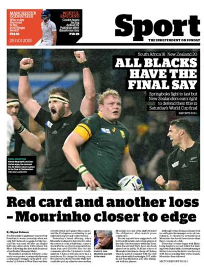 The Independent back page October 25