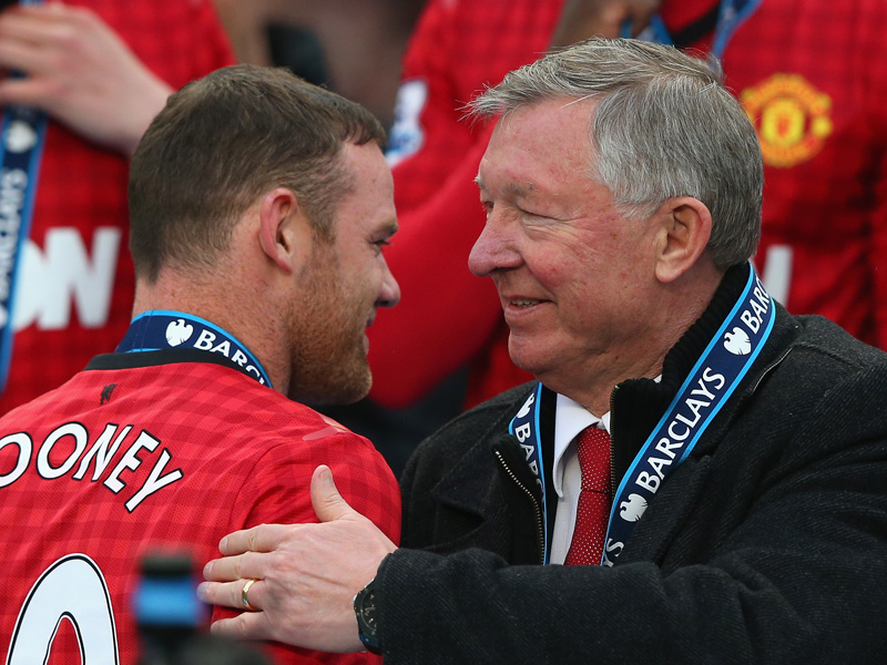 EPL - Manchester United v Swansea City, Sir Alex Ferguson and Wayne Rooney