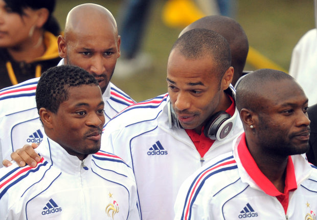 France's Patrice Evra, Thierry Henry, Nicolas Anelka and William Gallas during 2010 World Cup