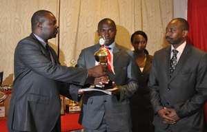 Ulinzi Stars midfielder Stephen ocholla during the award ceremony.