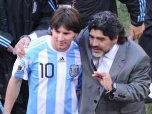 Lionel Messi Diego Maradona Argentina South Korea World Cup 2010 06172010