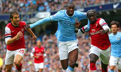 Bacary Sagna Mathieu Flamini Yaya Toure Manchester City Arsenal Premier League