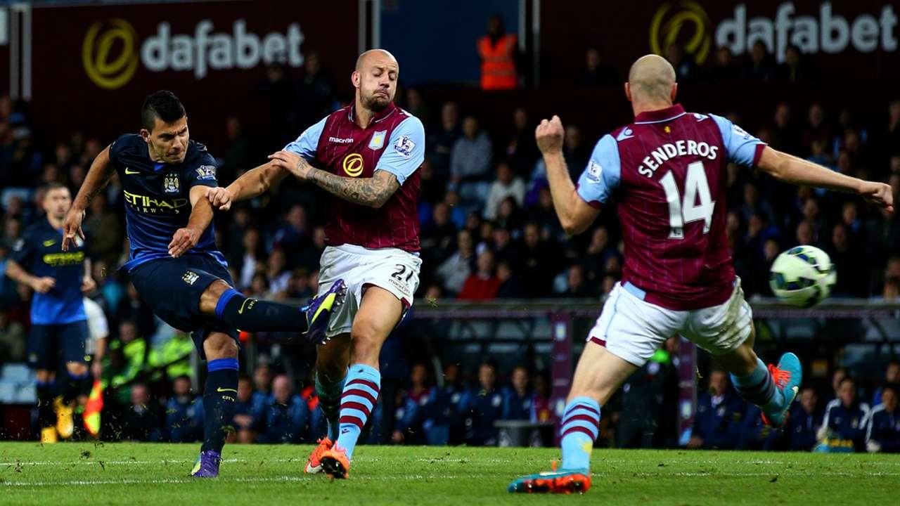 Sergio Aguero Aston Villa Manchester City Premier League 04102014
