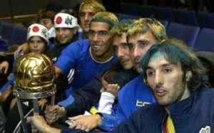 Boca celebrate Copa Intercontinental 2003 - Tevez - Schiavi - Abbondanzieri - Cagna - Cascini