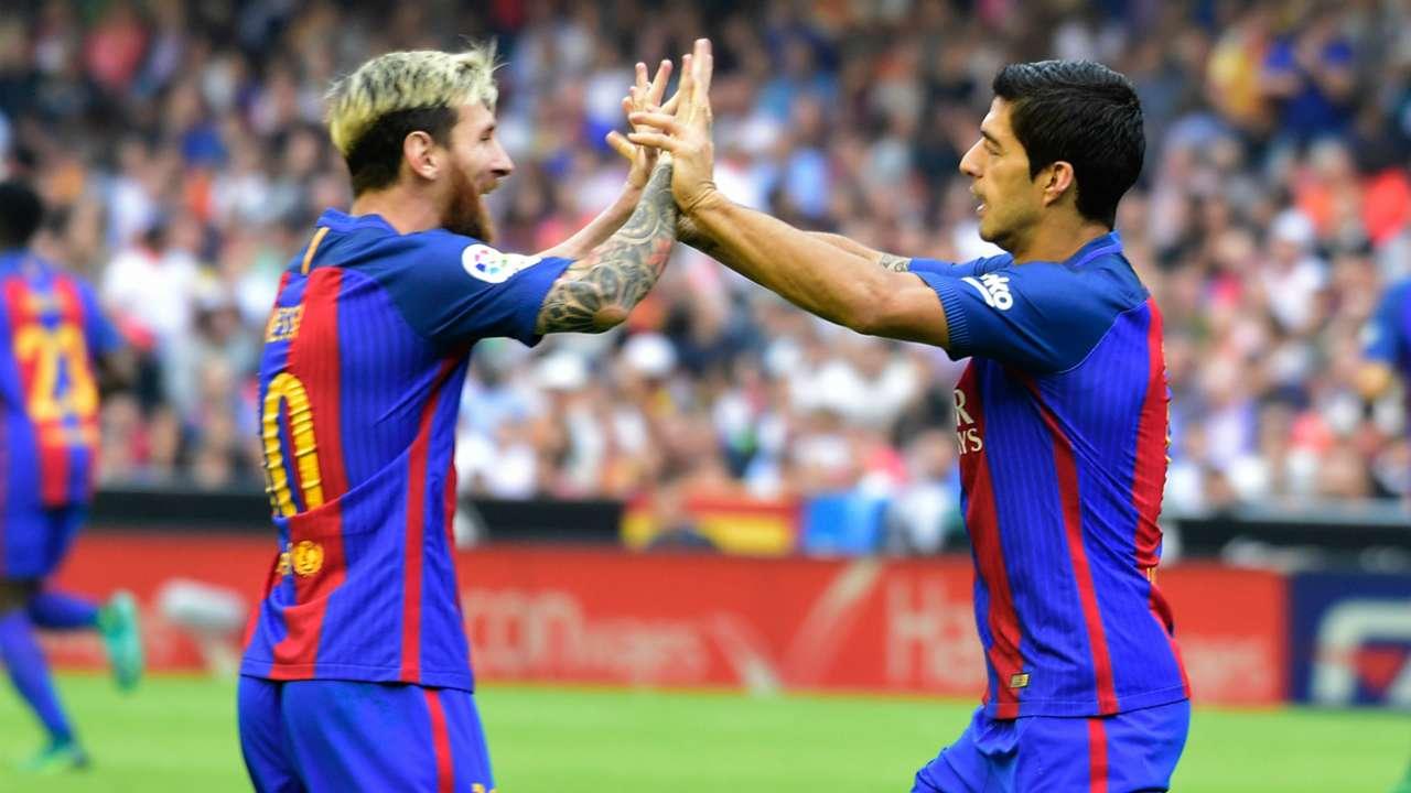 Lionel Messi & Luis Suarez Valencia CF v FC Barcelona La Liga 22102016