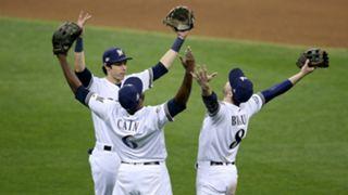Ryan Braun, Lorenzo Cain and Christian Yelich  of the Milwaukee Brewers vs Los Angeles Dodgers MLB 10192018