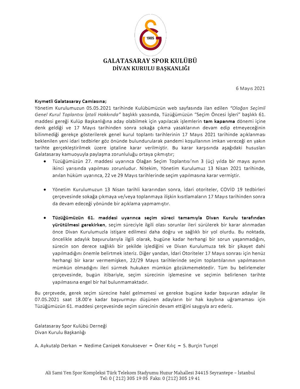 Galatasaray Divan Kurulu seçim süreci