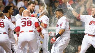 Indians celebrate after Carlos Santana hits walkoff