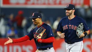 J.D. Martinez (right) and Mookie Betts