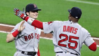 Andrew Benintendi (left) and Rajai Davis