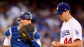 Austin Barnes (left) and Rich Hill (right)