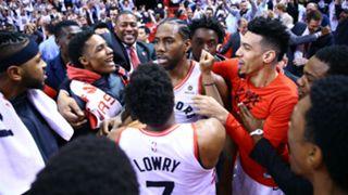 Kawhi Leonard and Raptors celebrate
