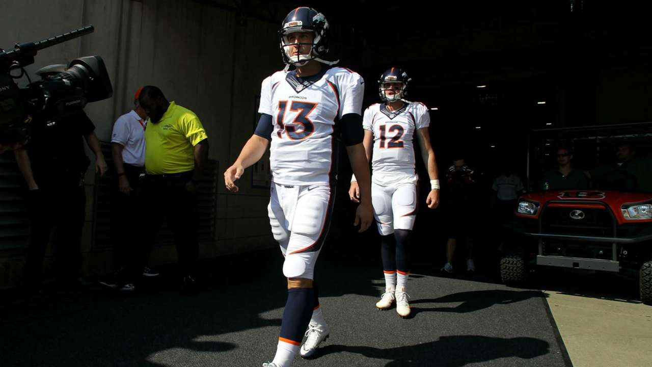 Trevor Siemian, left, and Paxton Lynch