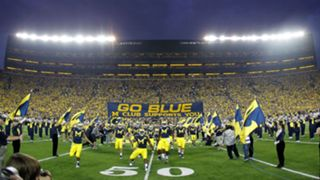Michigan Stadium at night