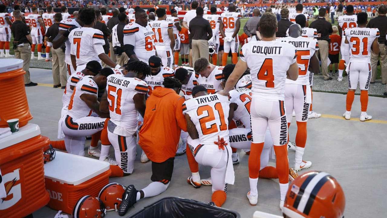 Browns kneel Aug. 21.